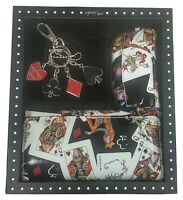 Queens Playing Cards Gift Box Set - Great Set - 3 Items Wallet Purse Keyring