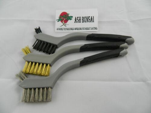 Bonsai Tree Brush Set Moss Deadwood etc. Kit X 3 Brushes For Cleaning Pots