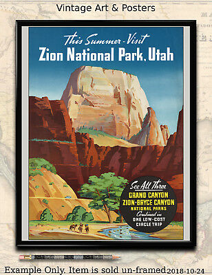 Zion Grand Canyon Bryce Vintage National USA Parks Poster Repro FREE SH
