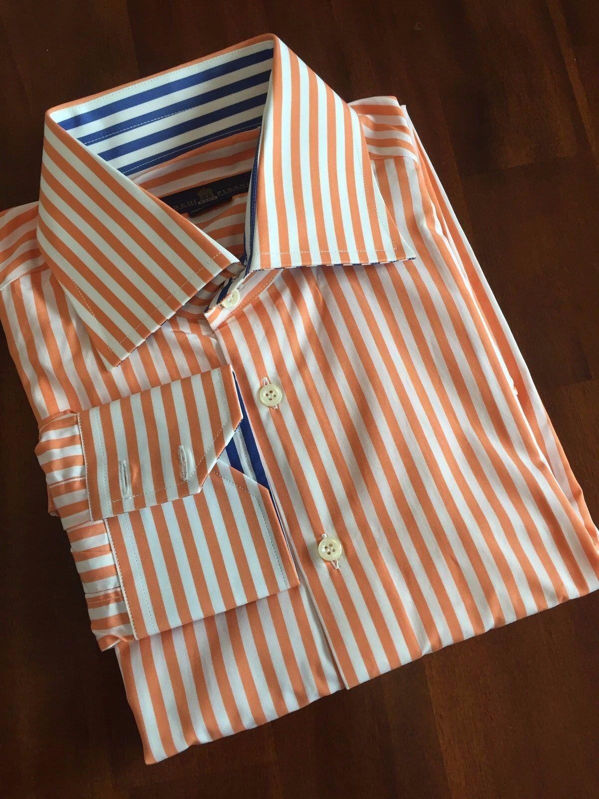 EREDI PISANO THE DOBLE BUTTON COLLAR orange  blueE SHIRT ( 15 3 4 40 )   275