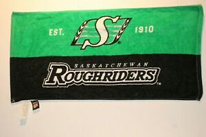SASKATCHEWAN-ROUGHRIDERS-GREEN-AND-BLACK-HAND-TOWEL-NEW