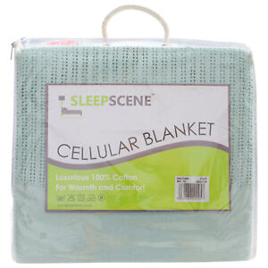 100-Cotton-Thermal-Cellular-Blanket-Light-Weight-Adult-Soft-Luxury-in-Mint
