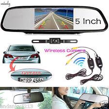 "5"" Car TFT LCD Monitor Mirror+Wireless Reverse Car Rear View Backup Camera Kit"