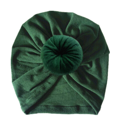 Kids Baby Headband Turban Satin Beanies Hat Solid Color Toddler Knot India Cap