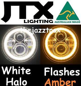"1pr JTX 7"" LED Headlight Lights White Halo Angel Eye flashes AMBER when turning"