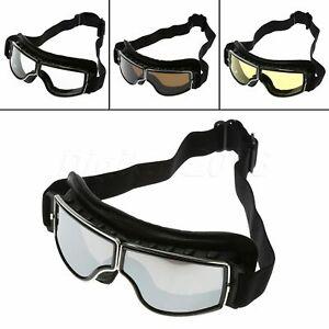Motorcycle-Motorbike-Goggles-Leather-Retro-Helmet-Eyewear-Anti-Fog-Glasses-Black