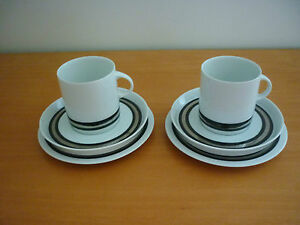 SET-OF-2-VINTAGE-RETRO-THOMAS-GERMANY-TRIOS-CUPS-SAUCERS-amp-SIDE-PLATES