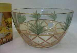 Crystal-Clear-11-034-Mouthblown-Hand-Painted-Glass-Pineapple-Bowl-22K-Gold-Accents
