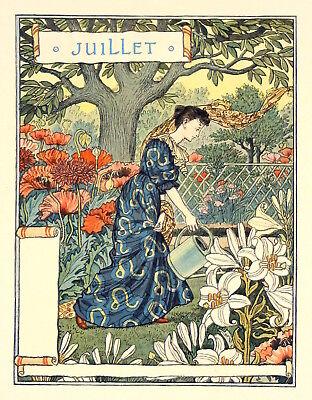 March Postcard: Vintage Print Repro Woman Planting Bulbs Eugene Grasset