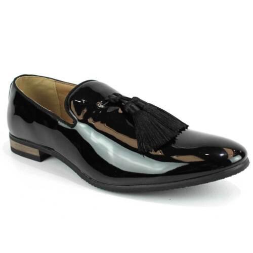 Black Patent Slip On Loafers Tassel Men/'s Dress Shoes Modern Formal  By AZAR MAN