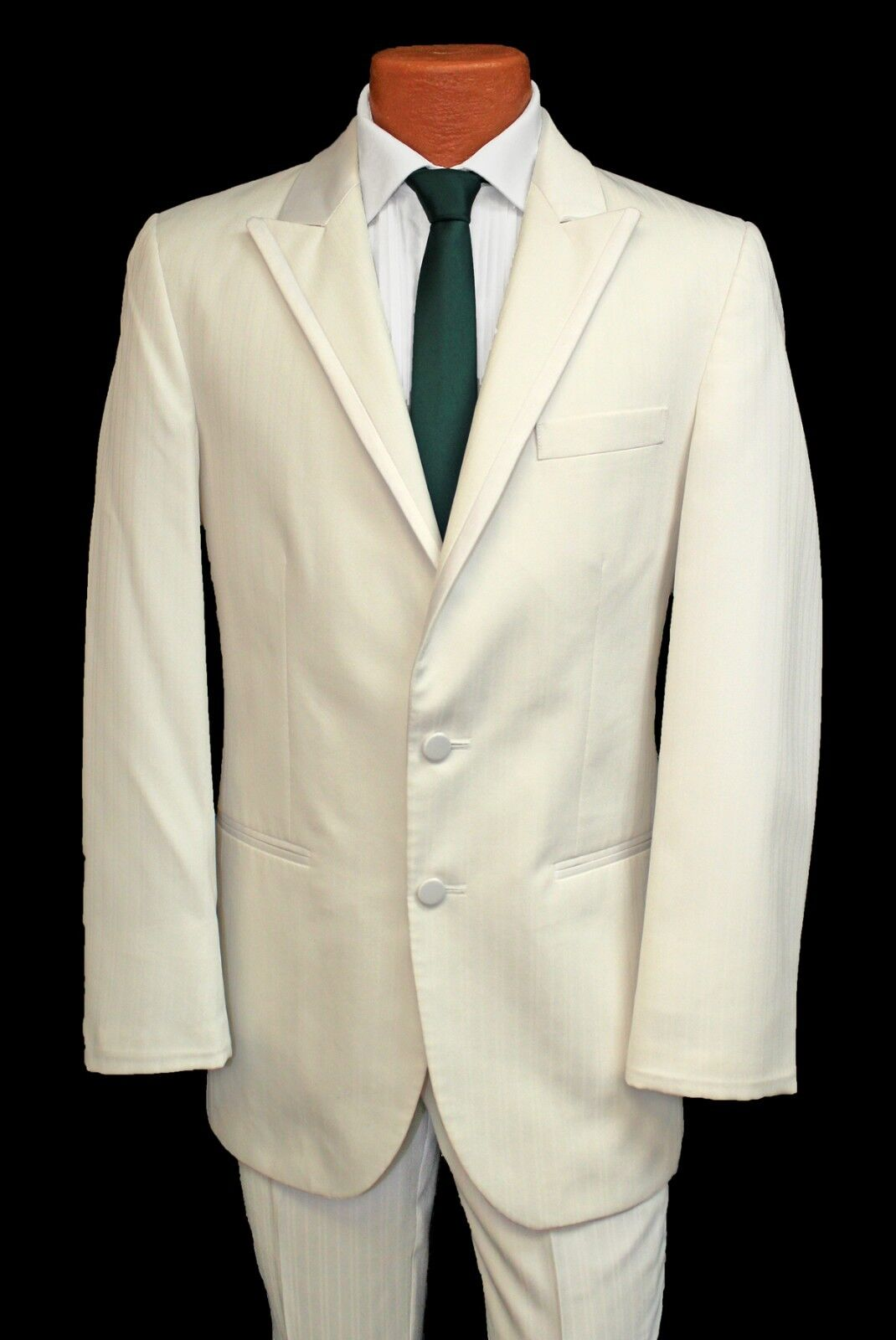 39L Diamond White Cream Parisian Prom Tuxedo Suit Blazer & Trouser Set Ivory