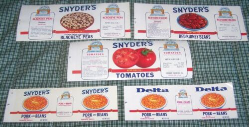 5 Vintage Snyder/'s Tomatoes Blackeye Peas /& Beans Labels Delta PA