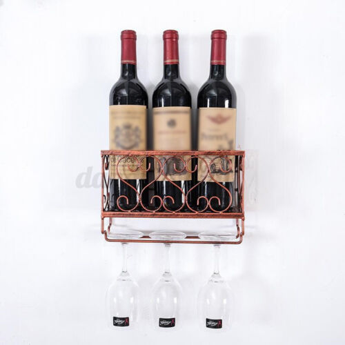 Metal Wine Rack Wall Mounted Bottle /& Glass Holder Storage Shelf For Home Office
