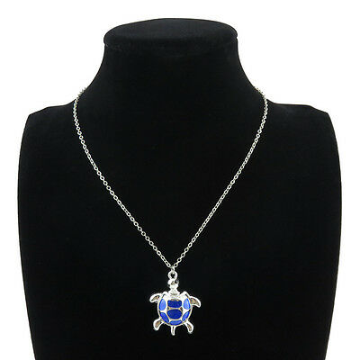 "18/"" Silver Chain Alloy Collar Short Necklace Enamel Blue Turtle Dangle Pendant"
