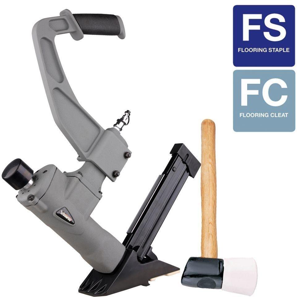 Flooring Nailer Air Nail Gun Pneumatic 3-in-1 Stapler Aluminum Rubber Mallet
