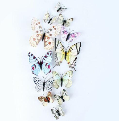 12pcs 3D Butterfly Stickers Colourful DIY Home Room Decor Fridge Magnet Stick #