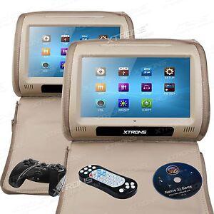 xtrons 2x9 zoll kopfst tze auto dvd player monitor. Black Bedroom Furniture Sets. Home Design Ideas