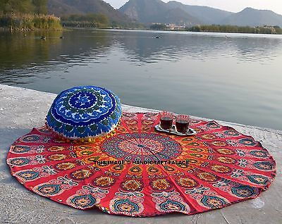 Indian Hippie Mandala Round Beach Throw Bohemian Decor Tapestry Roundie Yoga Mat