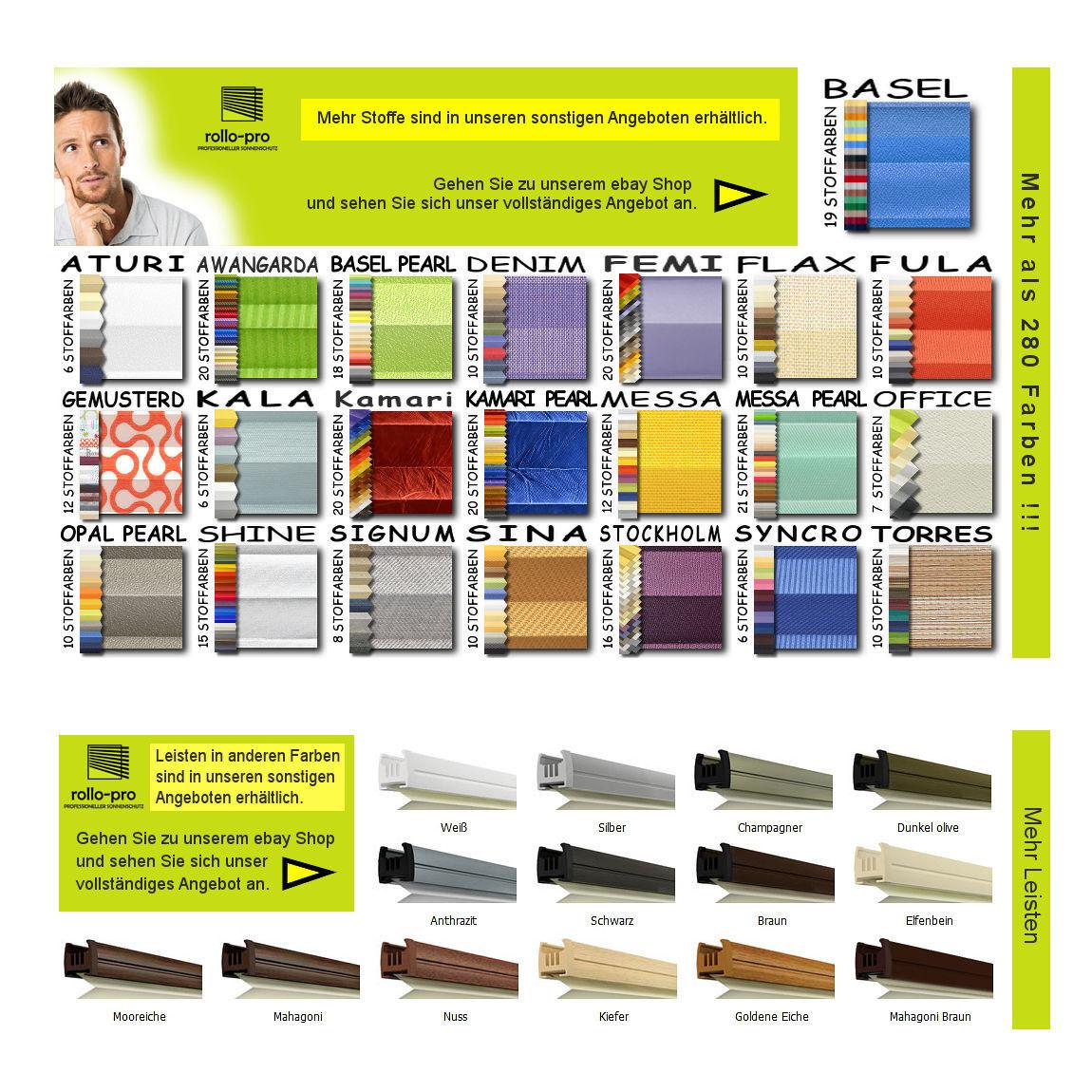 Plissee Faltrollo nach Maß Faltstore Faltstore Faltstore ohne Bohren Klemmfix DENIM Profil Mooreiche 71124c