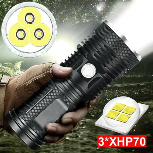 120000 LM Light XHP70.2 Powerful LED Flashlight Taschenlampe USB Zoom Tactical