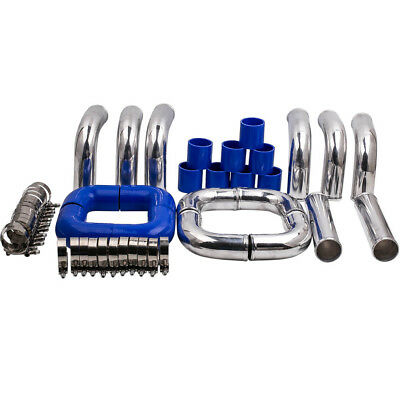 OD 3 3in 8Pcs Pipe Length 23.6 60cm Universal Turbo Intercooler Pipe Piping Silicone Hose Stainless Steel T-Clamp Kit