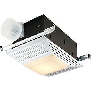 Broan 696 100 CFM 4.5 Sone Ceiling Mounted HVI Certified Bath Fan with Light