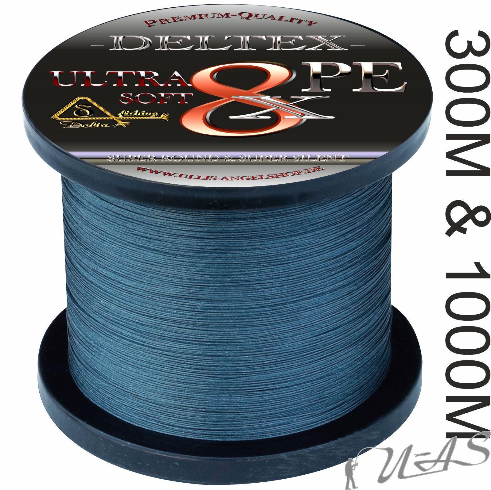 Deltex Ultra Soft Grigio 300m & 1000m 8 volte circa intrecciato lenza SHA