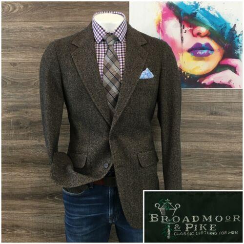 Vintage Union Made Brown Windowpane Wool Sports Coat Menswear 3-Button Jacket Mens Size 40L
