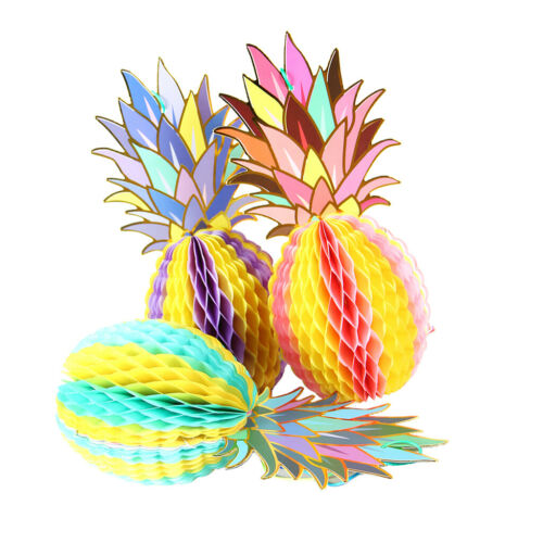 3pcs Set Papier Ananas Wabenball Honeycomb Party Deko