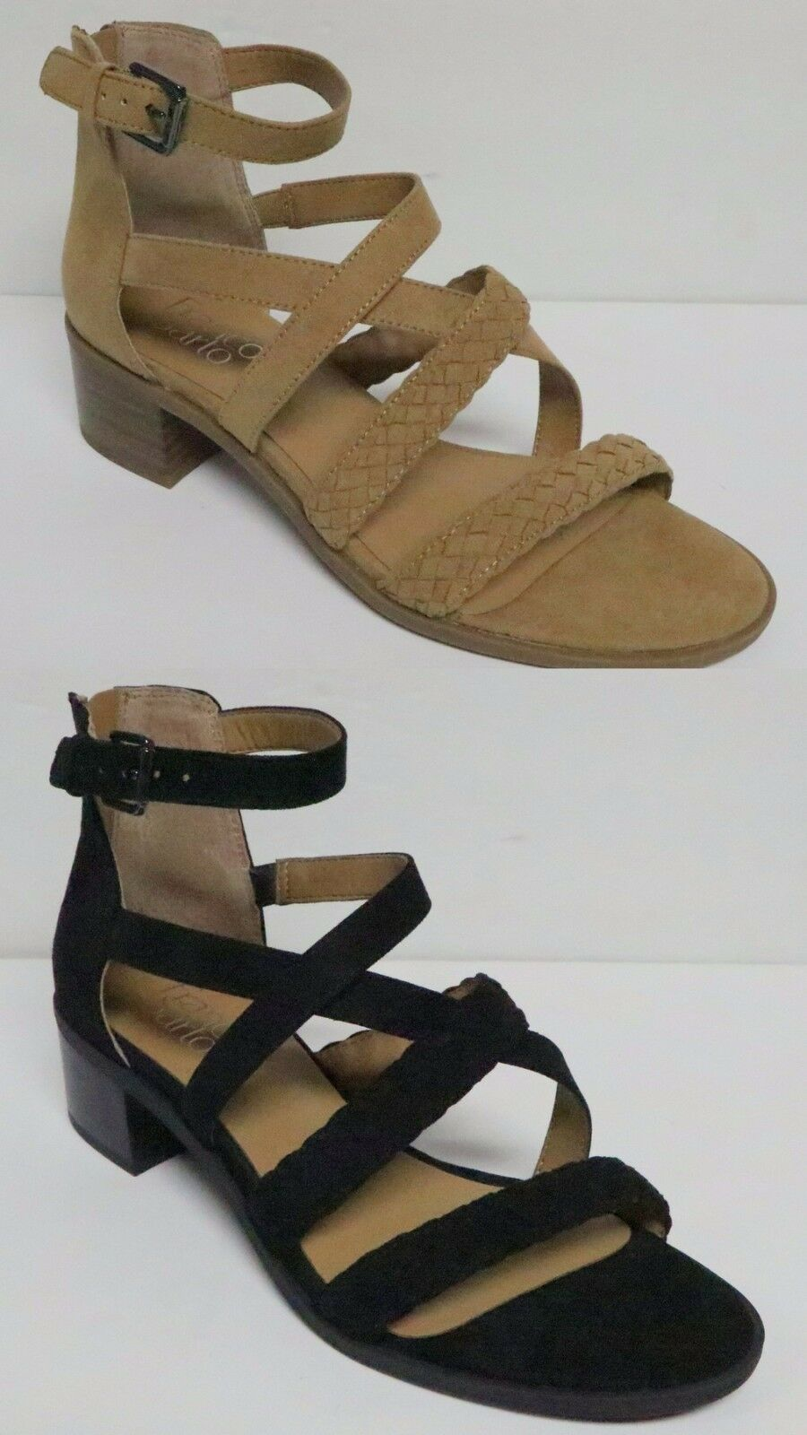 FRANCO SARTO OLYMPUS FABRIC SANDALS ANKLE WRAP BUCKLE REAR ZIP FAUX SUEDE NEW