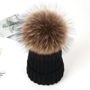 Damen-Echtfell-Bommel-Strickmuetze-Fellbommel-Hut-Damenmuetze-Beanie-Wolle