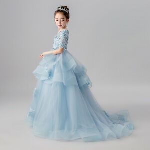 Flower-Girl-Tulle-Sweep-Train-Dress-Pageant-Princess-Wedding-Bridesmaid-Gown