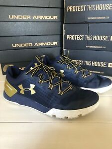 d705755b Details about Men Under Armour Charged Ultimate Shoe 11 Navy/Gold Notre  Dame Irish Blue Yellow