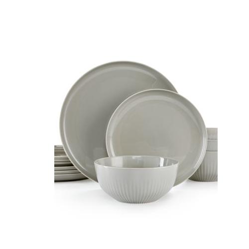 Hotel Collection 12 Pièces Porcelaine Ronde Plat Dinnerware Set Stone