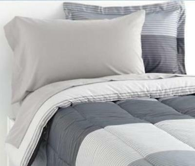 TWIN XL DORM - Student Lounge - 9-pc Gray Stripe SHEETS, SHAM & COMFORTER SET
