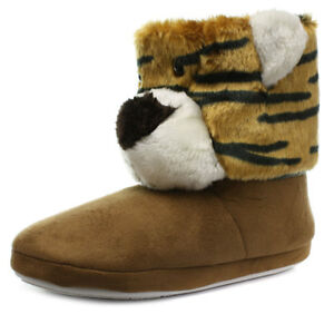 New Belle & Mimi Tiger Womens Novelty Boot Slippers Size UK 5-6 (EU 38/39)