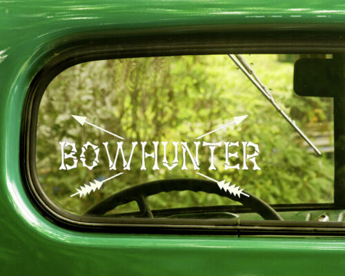 2 BOW HUNTER DECALs Sticker For Car Window Bumper Laptop Truck Jeep Rv