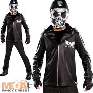 Halloween Costumes Biker   Skeleton Biker Boys Fancy Dress Bad To The Bone Kids Halloween
