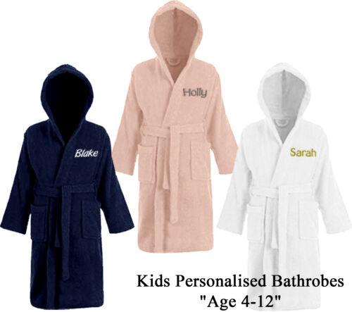 Personalised Kids Childrens Bathrobe Terry Towelling Hooded Bath Robe Gown 4-14