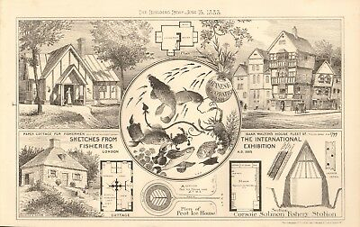 Design Print 1883 Antique Architecture International Fisheries Exhibition Lo Buy One Give One