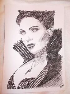 Art A4 Charcoal Sketch Drawing Actress Lana Parilla As Regina From Once Upon A Time
