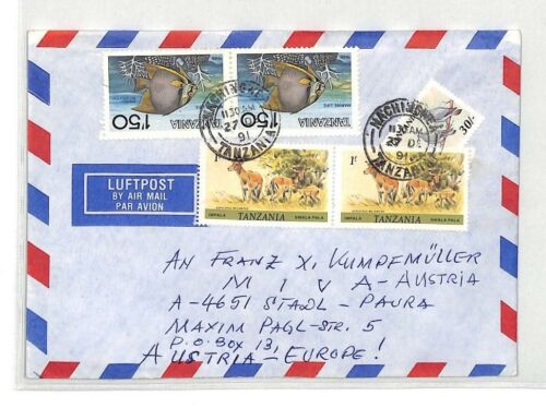 CA346 1991 Tanzania NAMUPA SEMINARY Airmail ANIMALS FISH Cover MIVA MISSIONARY