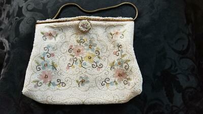 Wedding Antique 1920/'s Seed Bead and Embroidered Coin Purse Bridal Accessory