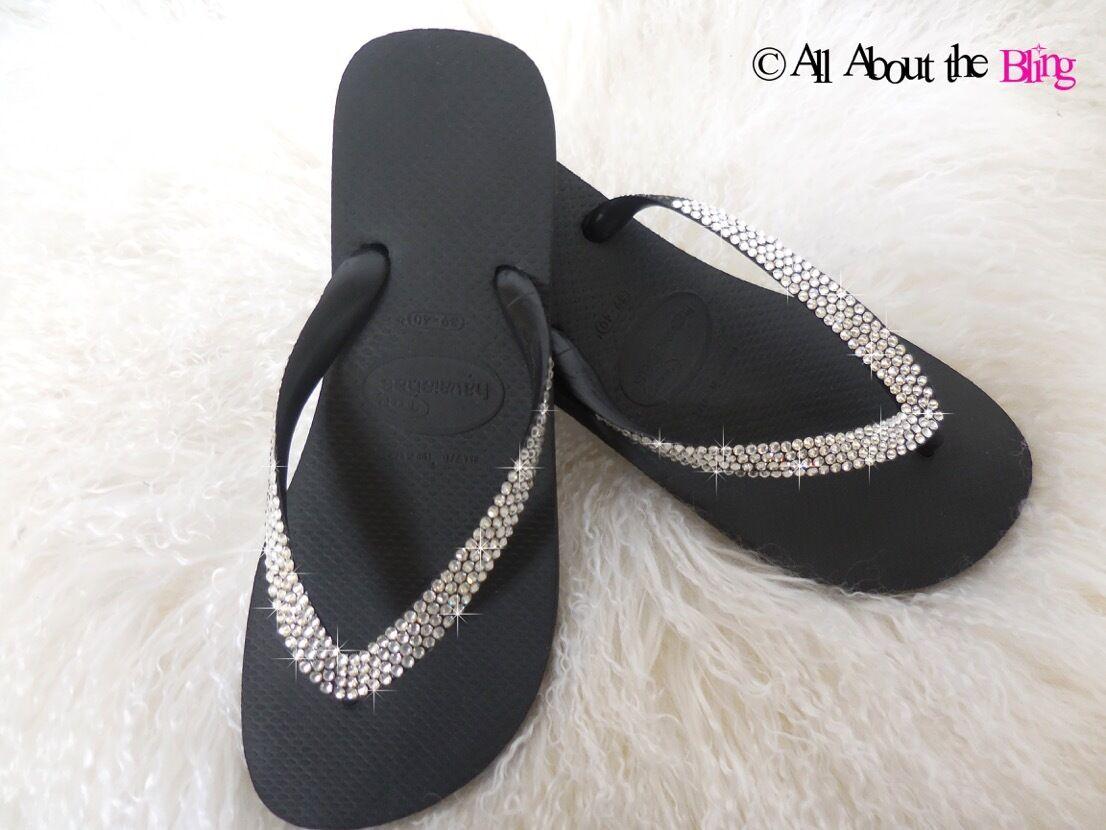 Havaianas Havaianas Havaianas flip flops with 450-500 SWAROVSKI Crystals rhinestones sandals 4 ROWS c91248