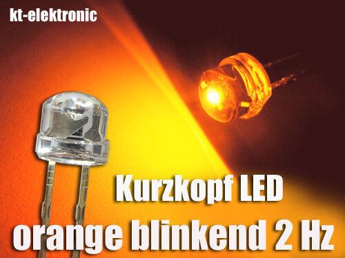 10 Pzi BLINK-LED 5mm corto testa arancione lampeggio circa 2 volte al secondo 1.5-2.5 Hz
