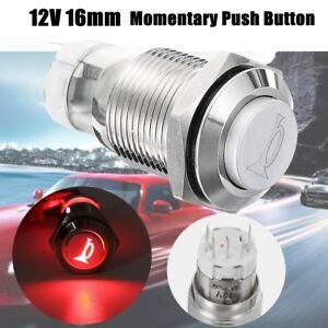 12V-16mm-LED-Rouge-Klaxon-Switch-Bouton-Poussoir-Momentane-Metal-Bateau-Marine