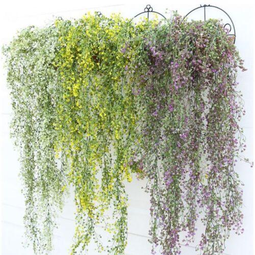 Artificial Long Plants Plastic Wall Hanging Vine Fake Flower Wisteria Home Decor