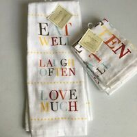 Sonoma Kitchen 1 Towel 2 Dish Cloths Eat Laugh Love Dish Tea Set