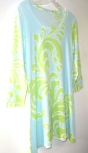Soft Surroundings Butter Knit Tunic Top Women's S 3/4 Sleeve Blue w/Chartreuse