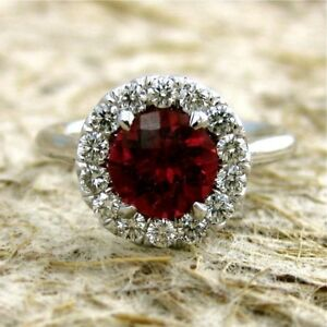 3Ct-Round-Cut-Simulant-Ruby-Diamond-Halo-Engagement-Ring-White-Gold-Fns-Silver